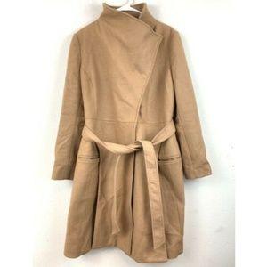 Asos Women's Camel Belted Coat Size 14 Wool Blend